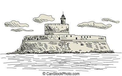 Rhodes ancient fort. EPS 10 vector sketch illustration without transparency and meshes.