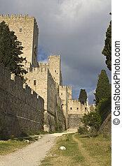 rhodes, château, chevaliers, île, grèce