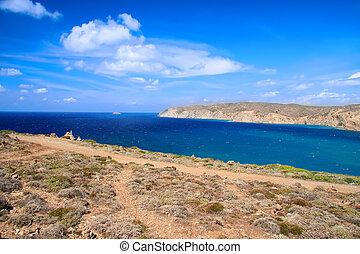 rhodes., egejský, středozemský, bydliště, moře, čelit,...