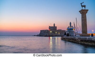 Rhodes harbour at night, timelapse of night to day ...