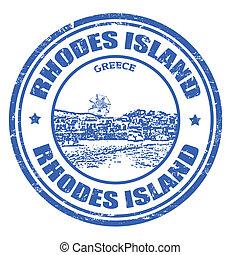 Rhodes Island stamp - Grunge rubber stamp with the Rhodes...