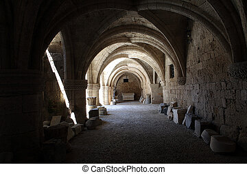 Rhodes - the medieval building of the Hospital of the Knights. At present Archaeological museum .