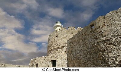 Rhodes Tower of St. Nicholas, Greece  (time lapse)