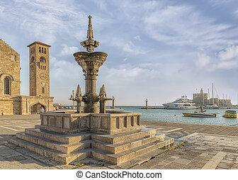 Rhodes Town Fountain
