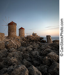 Rhodes Windmills and Fort at Blue Hour