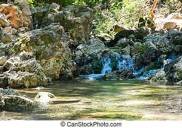 rhodes, zonnig, waterval, kleine, greece., rivier, dag
