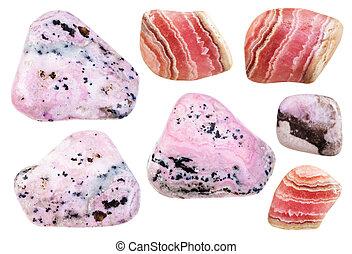 rhodochrosite, divers, poli, minéral, gemstones