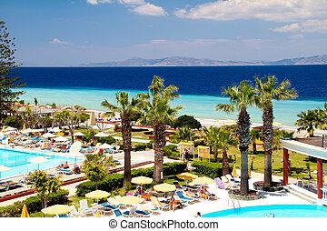 rhodos, villa, lyxvara, grekland, slå samman, simning