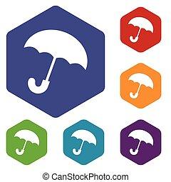 rhombe, parapluie, icônes