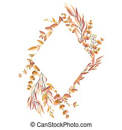 Rhombic autumn frame with leaves and branches. Decoration for wedding invitations and greeting cards. Vector illustration.