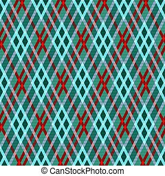 Rhombic seamless vector pattern as a tartan plaid mainly in green hues with blue and red lines, texture for flannel shirt, plaid, tablecloths, clothes, blankets and other textile