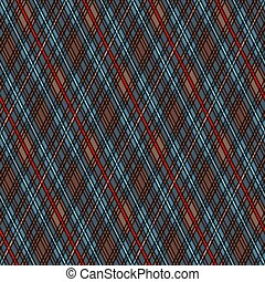 Seamless rhombic illustration pattern as a tartan plaid mainly in blue and brown hues with red lines, texture for flannel shirt, plaid, tablecloths, clothes, blankets and other textile