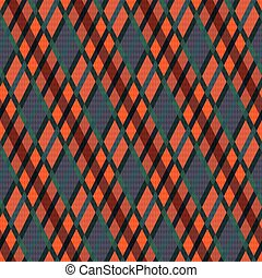 Seamless rhombic illustration pattern as a tartan plaid mainly in muted grey and orange hues with green lines, texture for flannel shirt, plaid, tablecloths, clothes, blankets and other textile