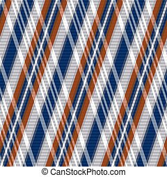 Rhombic seamless vector pattern as a tartan plaid mainly in blue, grey and brown colors