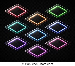 Rhombus banners set. Neon sign. Led or halogen lamp technology frames with glass or plastic texture plate. Shining geometric borders on dark transparent background. Bright lozenge vector illustration.
