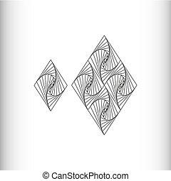 Rhombus - black and white geometric pattern