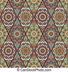 Rhombus Boho Flower Tile Pattern