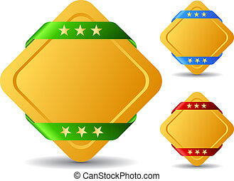 Rhombus buttons - Rhombus blank buttons, vector illustration