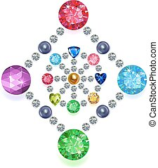 Set of colored gems located on a rhombus & circle isolated on white background, vector illustration