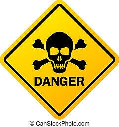 Rhombus danger yellow sign