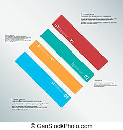 Rhombus illustration template consists of four color parts on light-blue background