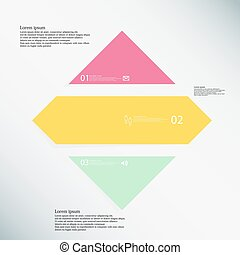 Rhombus infographic template consists of three color parts on blue background