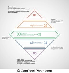Rhombus infographic template divided to five parts from double outlines