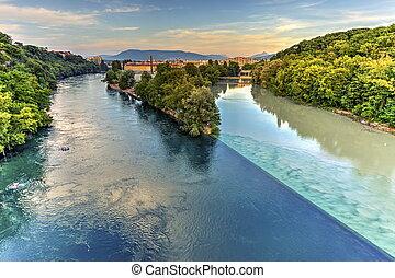 Rhone and Arve river confluence, Geneva, Switzerland, HDR -...