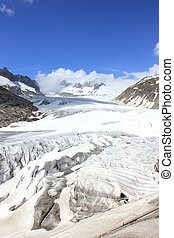 Rhone glacier in the swiss mountains in summer