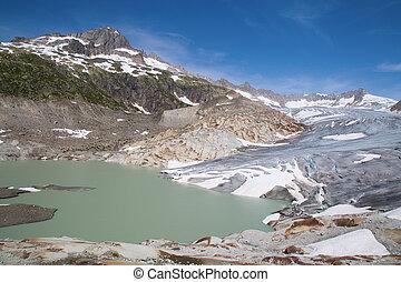 Rhone glacier, source of Rhone river