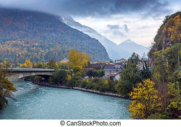 Amazing Autumn Landscape of Rhone River, canton of Vaud, Switzerland