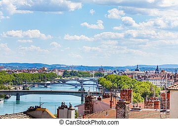 Rhone river with its bridges in Lyon, France