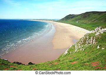 Rhossili Bay, Rhossili, on the Gower Peninsular, West Glamorgan, Wales, UK,