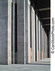 Rhythm of arhitectural lines. Modern building fragment.