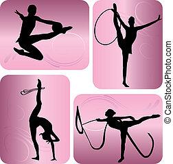rhythmic ασκήσεις γυμναστικής , απεικονίζω σε σιλουέτα