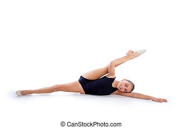 rhythmic ασκήσεις γυμναστικής , ασκήσεις , κορίτσι , άσπρο , παιδί