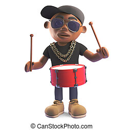 Rhythmic black hiphop rapper playing the drums, 3d...