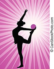 rhythmic gymnast silhouette on the abstract background