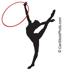 Abstract vector illustration of rhythmic gymnastic silhouettes