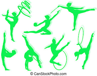 Young women in rhythmic gymnastics silhouette and exercises