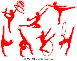 Rhythmic gymnastics exercises - Young women in rhythmic ...