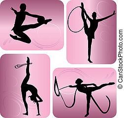Rhythmic gymnastics silhouettes on an abstract background