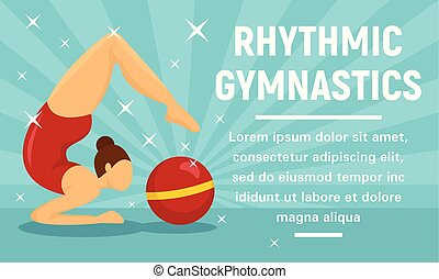 Rhythmic gymnastics sport concept banner, flat style