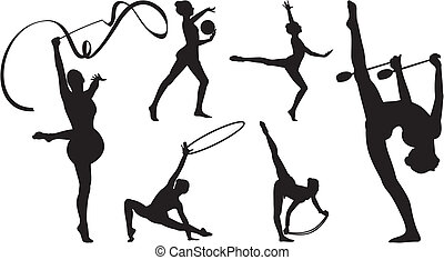girls exercising with equipment: jump rope, hoop, ball, ribbon and clubs