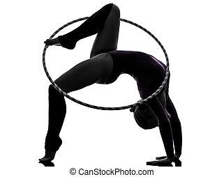 Rhythmic Gymnastics with hula hoop woman silhouette