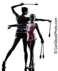 Rhythmic Gymnastics woman little girl child teenager silhouett