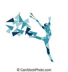 Rhythmic gymnastics woman performance with clubs vector...