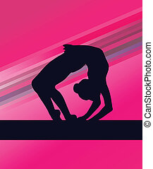 Rhythmic Gymnastics woman with clubs vector background...