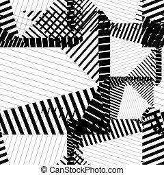 rhythmisch, gr, kontinuierlich, muster, schwarz, textured,...