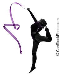 rhythmische gymnastik, mit, geschenkband, frau, silhouette